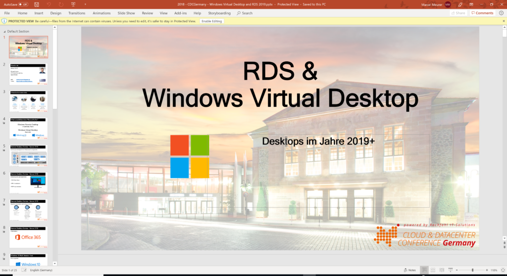CDC Germany: RDS and Windows Virtual Desktop – Desktops in the year 2019 and beyond